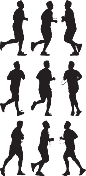 Male runners in action