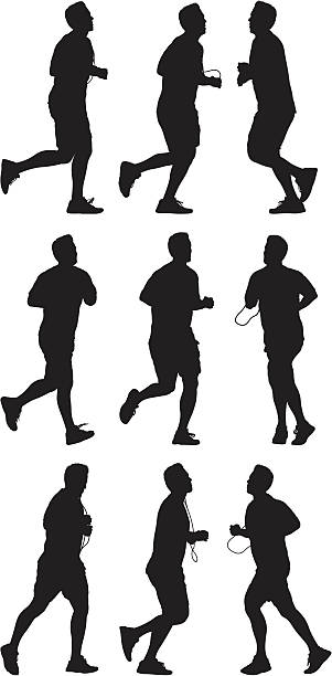 Male runners in action Male runners in action active lifestyle stock illustrations