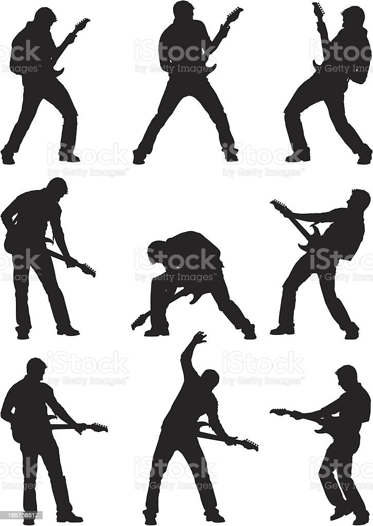 Male silhouettes rocking out on guitar vector art illustration
