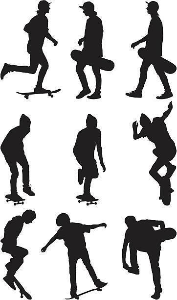 stockillustraties, clipart, cartoons en iconen met male skate boarders - buigen lichaamsbeweging