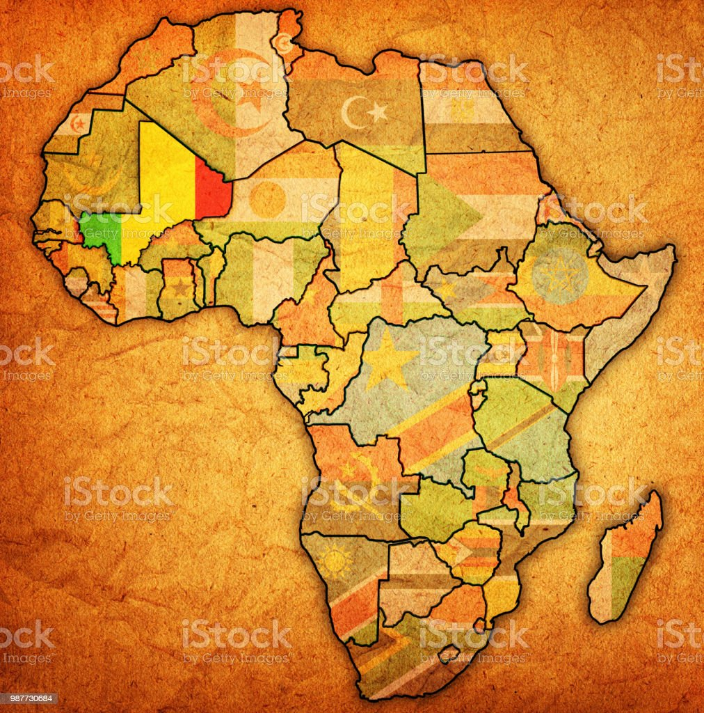 Mali Flag On Political Map Of Africa Stock Vector Art More Images