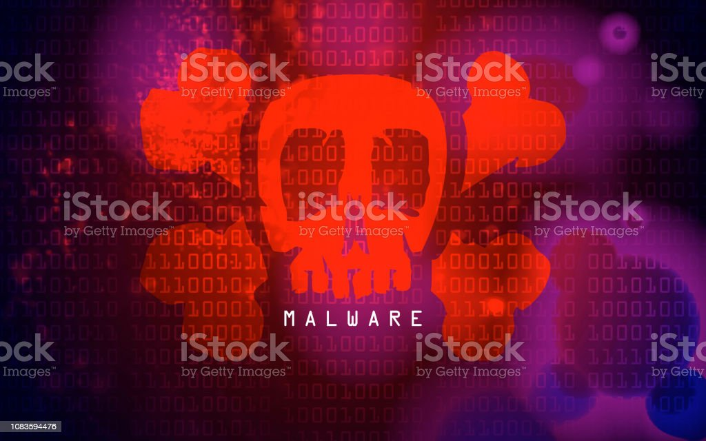 Malware Virus With A Skull On Binary Code Stock Illustration