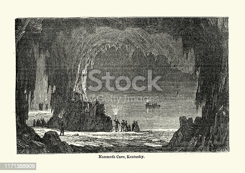 Vintage engraving of Mammoth Cave, Kentucky, the longest cave system known in the world. 19th Century.