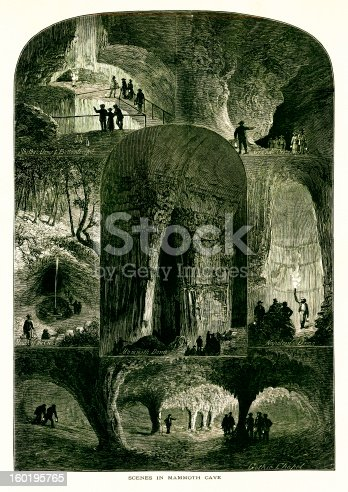 Scenes in Mammoth Cave, the longest cave system in the world, located in the U.S. state of Kentucky. Published in Picturesque America or the Land We Live In (D. Appleton & Co., New York, 1872).