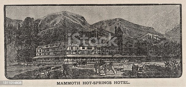 Mammoth Hot Springs Hotel, Black Hills, South Dakota, sits at the foot of mountains. Illustration published 1886. Source: Original edition is from my own archives. Copyright has expired and is in Public Domain.