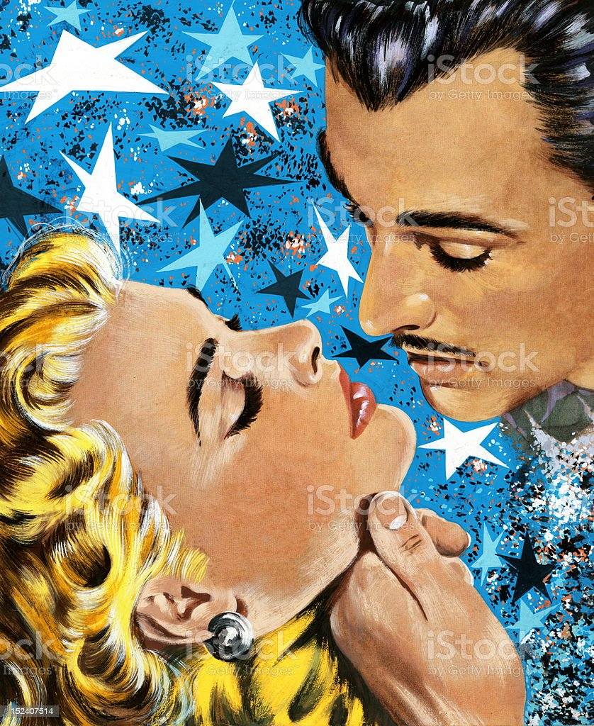 Man About To Kiss Blonde Woman vector art illustration