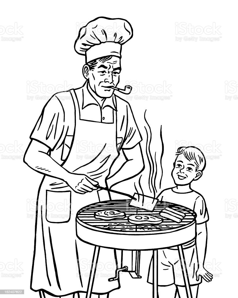 Man and Boy Grilling Meat vector art illustration