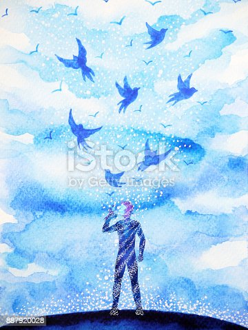 653098388istockphoto man and flying birds free, relax mind with open sky, abstract watercolor painting design illustration background 887920028