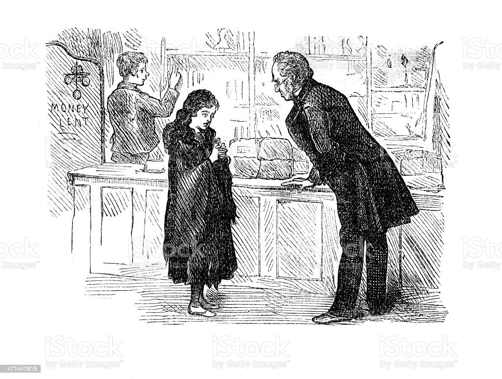 Man and girl in shop   from 1880 journal vector art illustration