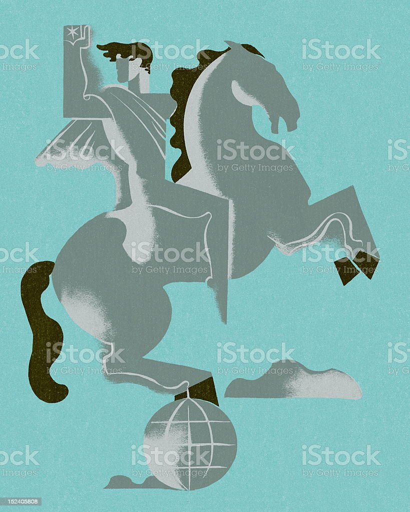 Man and Horse on Globe royalty-free stock vector art