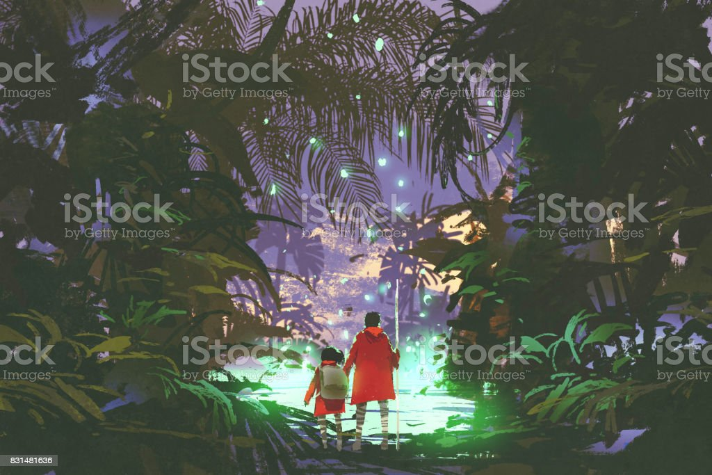 man and little girl looking at green swamp in forest vector art illustration
