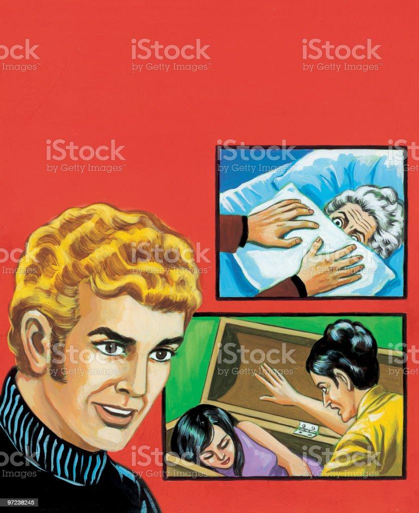 Man and Murder Scenes vector art illustration