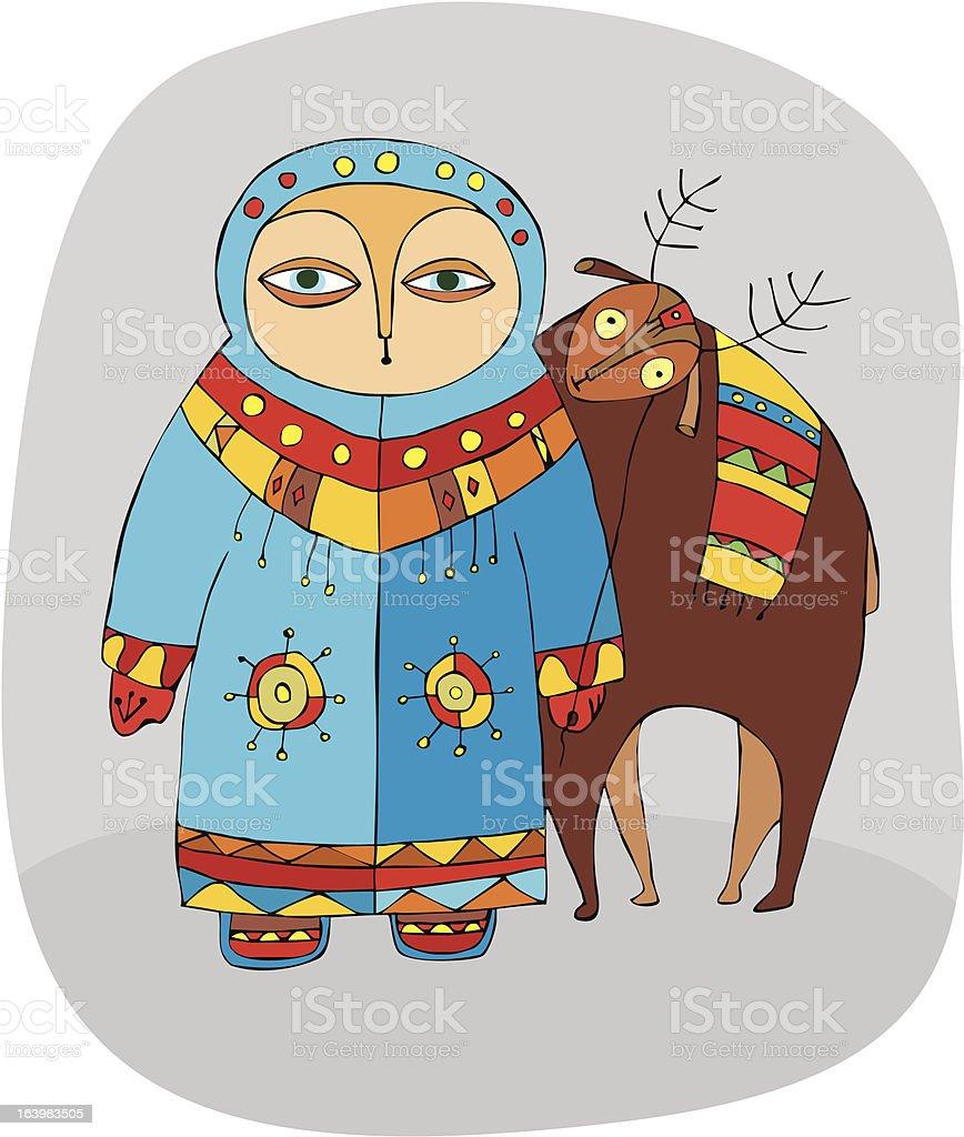 man and reindeer royalty-free stock vector art