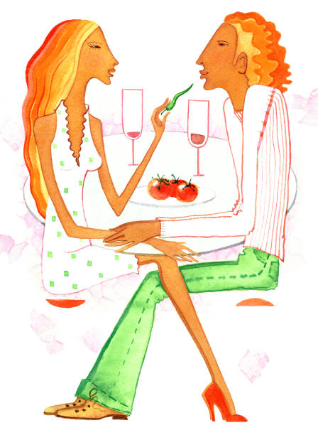 Man and the woman with aphrodisiac food The man and the woman with aphrodisiac food the table on a white background love potion stock illustrations