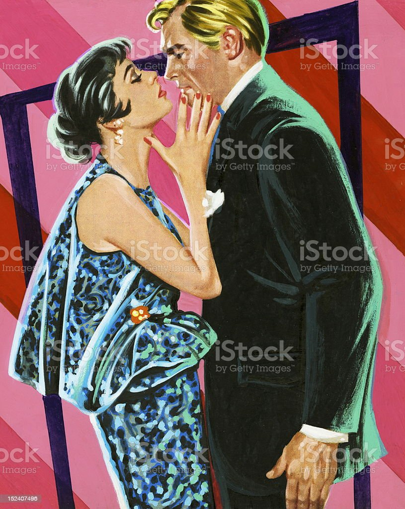 Man and Woman About To Kiss vector art illustration