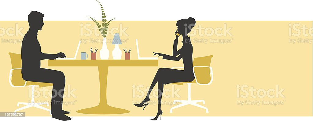 Man and woman at desk vector art illustration