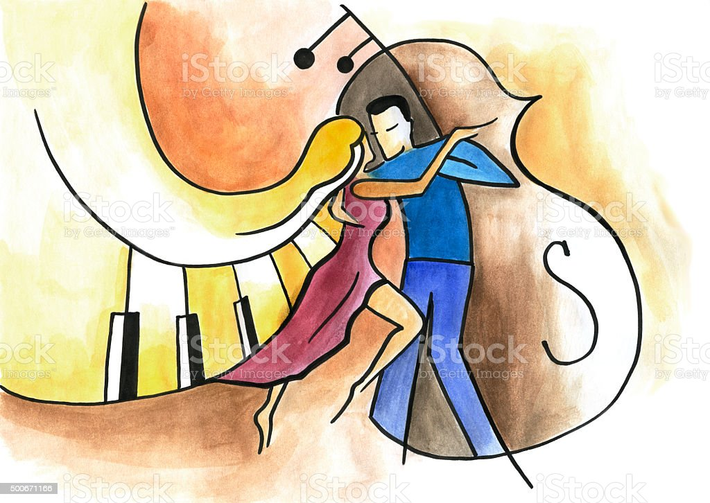 Man and woman dancing on musical background vector art illustration