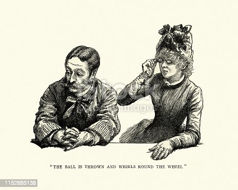 Vintage engraving of Man and woman gambling in a Monte Carlo casino, the ball is thrown and whirls round the wheel. Visit to Monte Carlo by Paul Renouard, 1886, 19th Century