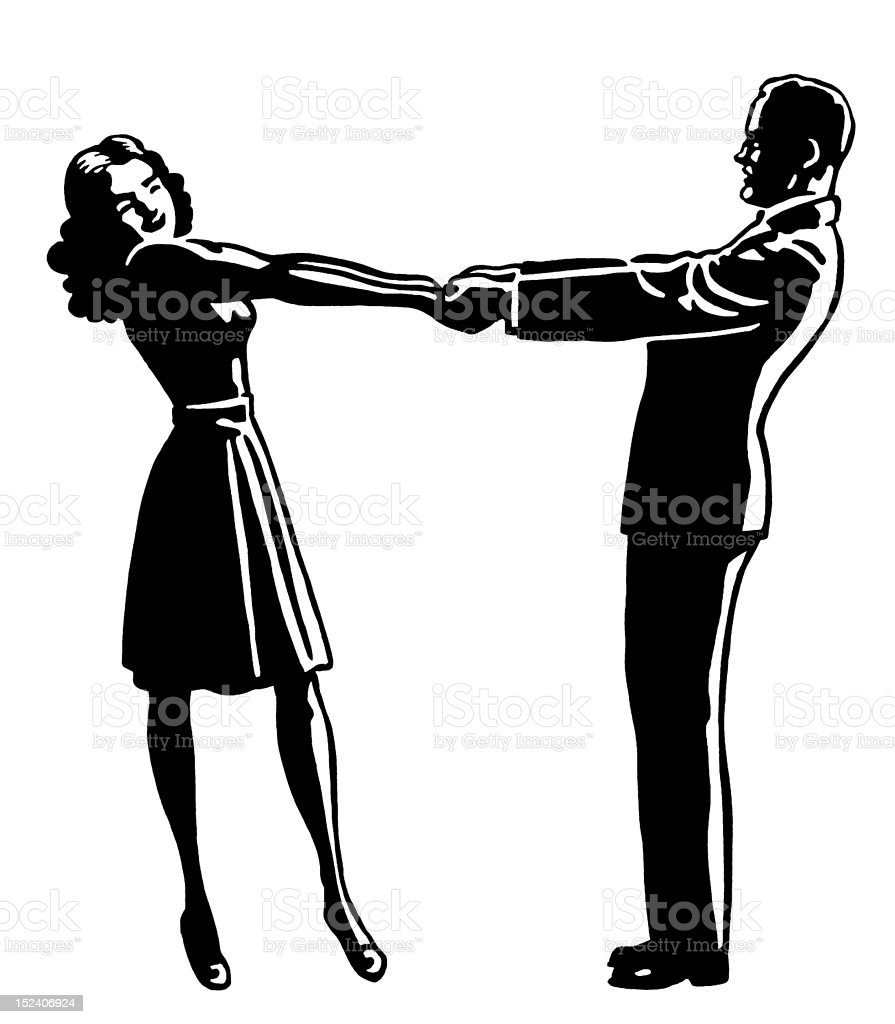 Man and Woman Holding Hands royalty-free stock vector art