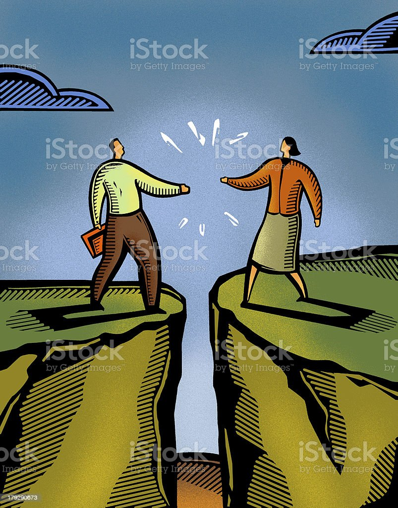 man and woman meeting over a crevice vector art illustration