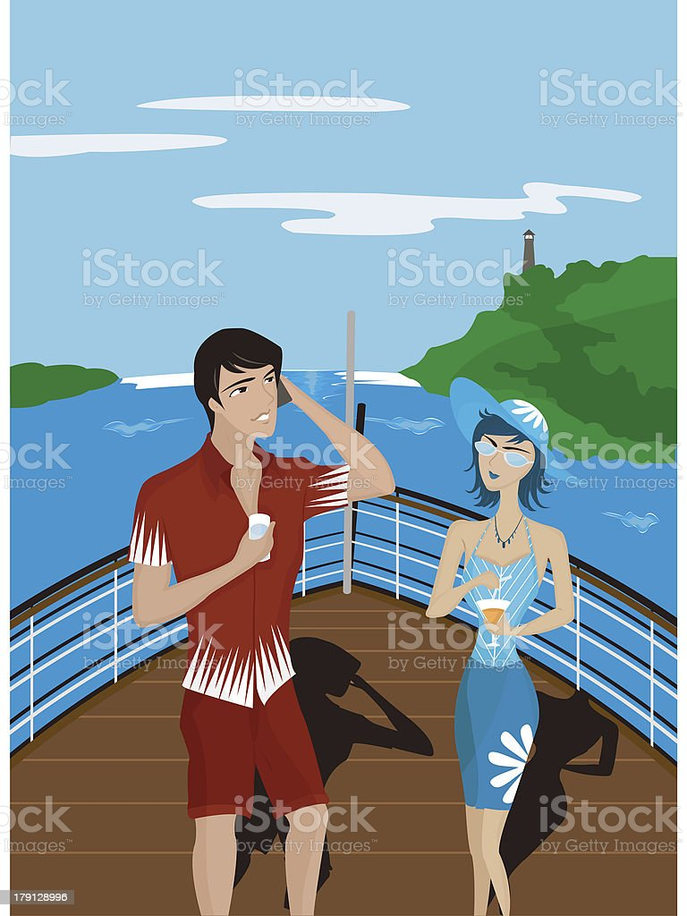 man and woman on the deck of a boat vector art illustration