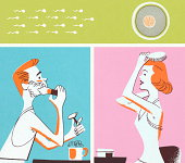 istock Man and Woman Primping and Sperm and Egg 152404700