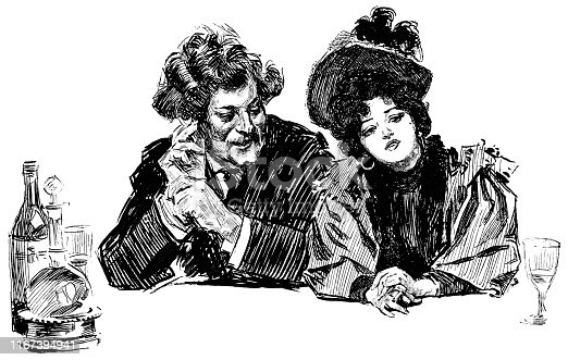 Man and woman sitting at a bar in Paris France. Vintage etching circa late 19th century.