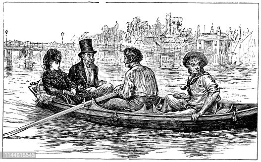 Rosa Bud and John Jasper traveling by boat on the Medway River at Rochester, England in The Mystery of Edwin Drood from the Works of Charles Dickens. Vintage etching circa mid 19th century.