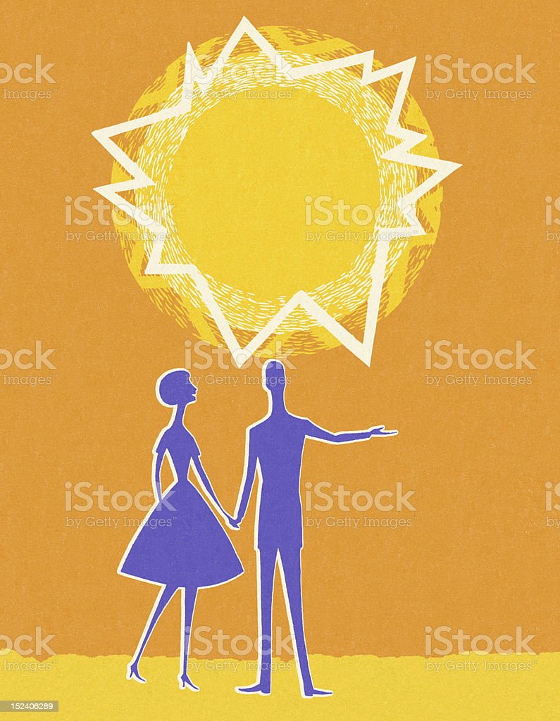 Man and Woman Under The Sun royalty-free stock vector art