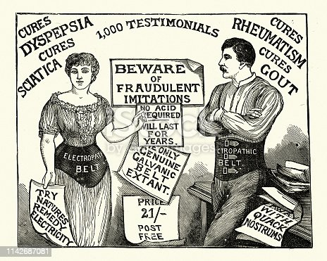 Vintage engraving of a man and woman wearing a Electropathic battery belt. 19th Century.