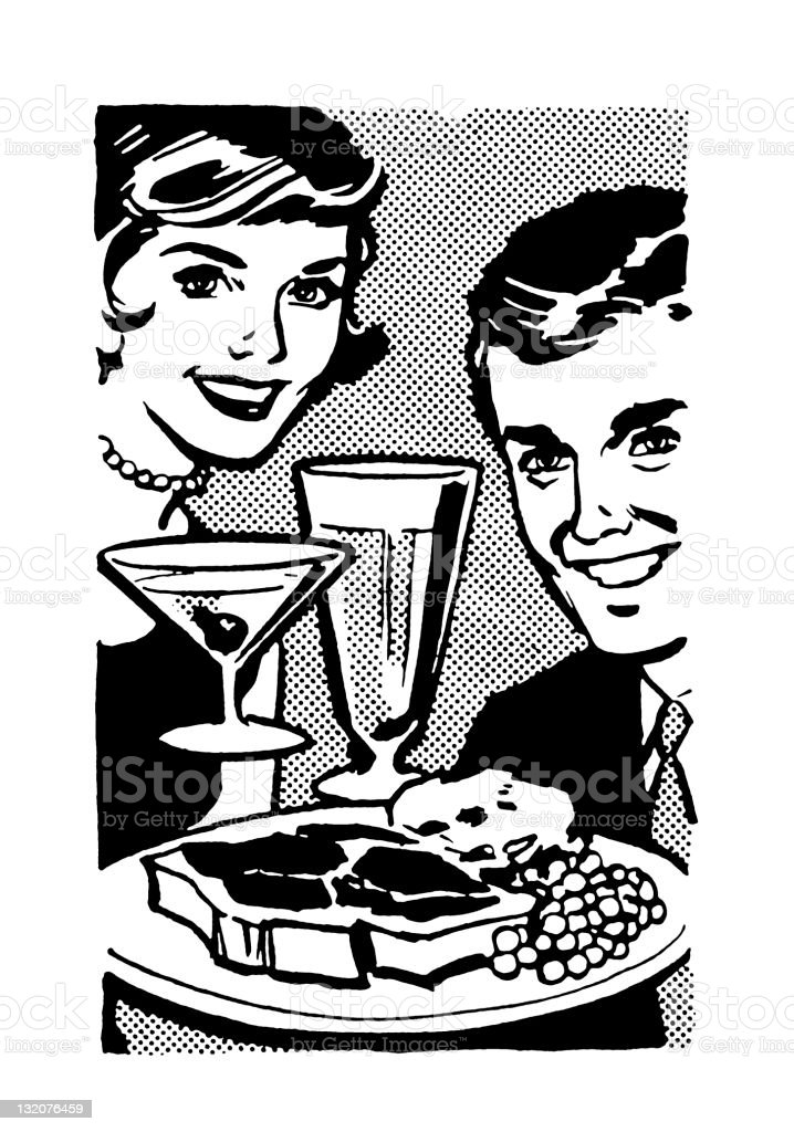 Man and Woman With Food and Drink royalty-free stock vector art