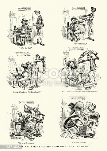 istock Man annoyed by a concertina player, victorian humorous cartoon 1253710369
