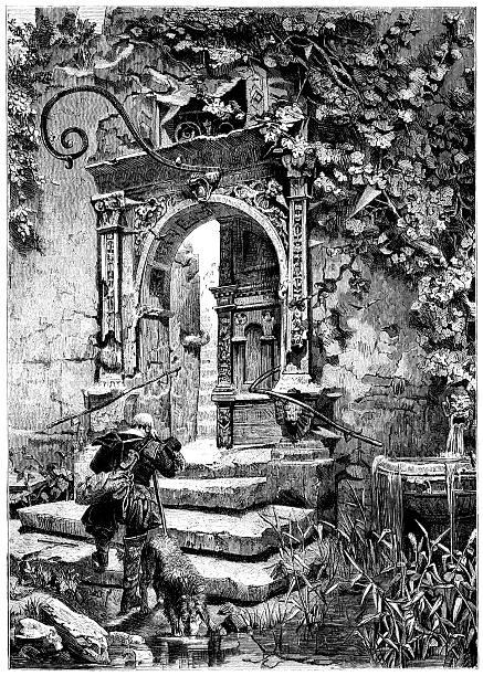 ilustrações de stock, clip art, desenhos animados e ícones de homem chegar a uma casa velha arruinada (victorian ilustração - ivy building