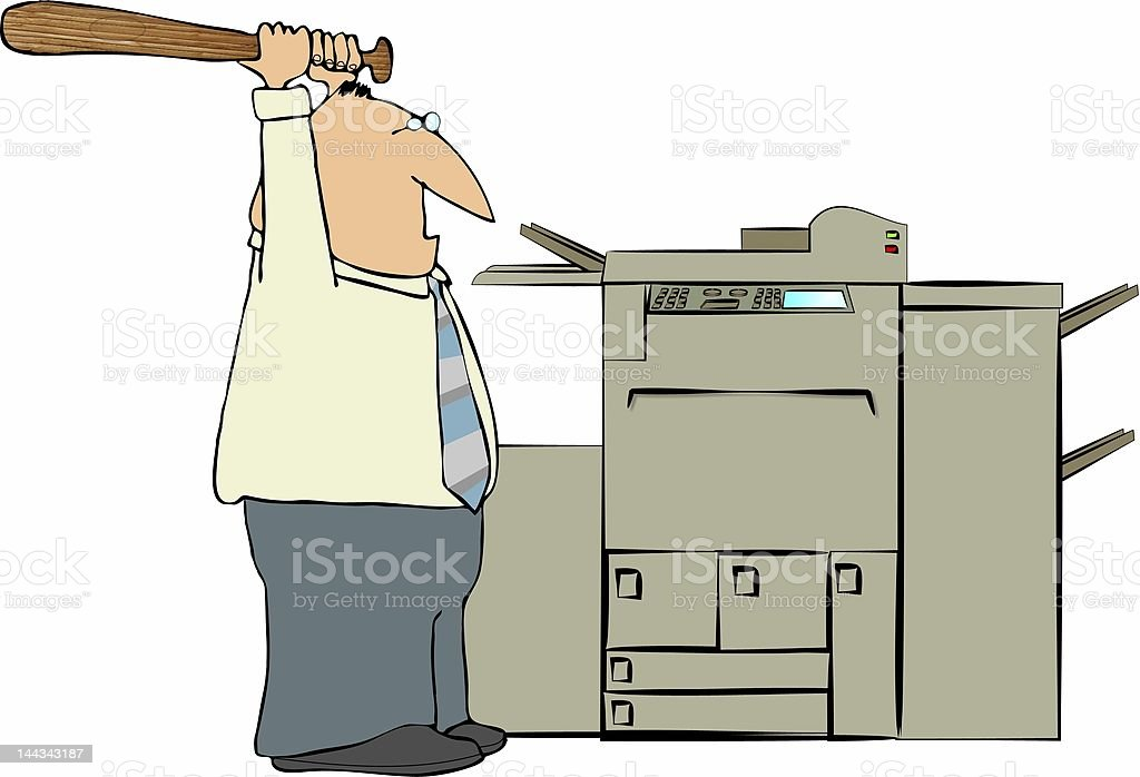 Man Beating A Copy Machine vector art illustration