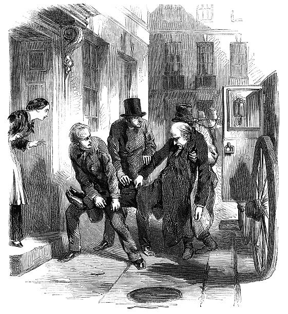 man being carried from carriage to house (victorian engraving) - old man sleeping drawing stock illustrations, clip art, cartoons, & icons