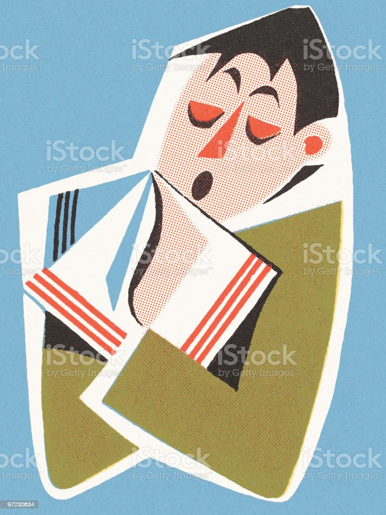 Man Blowing Nose royalty-free stock vector art