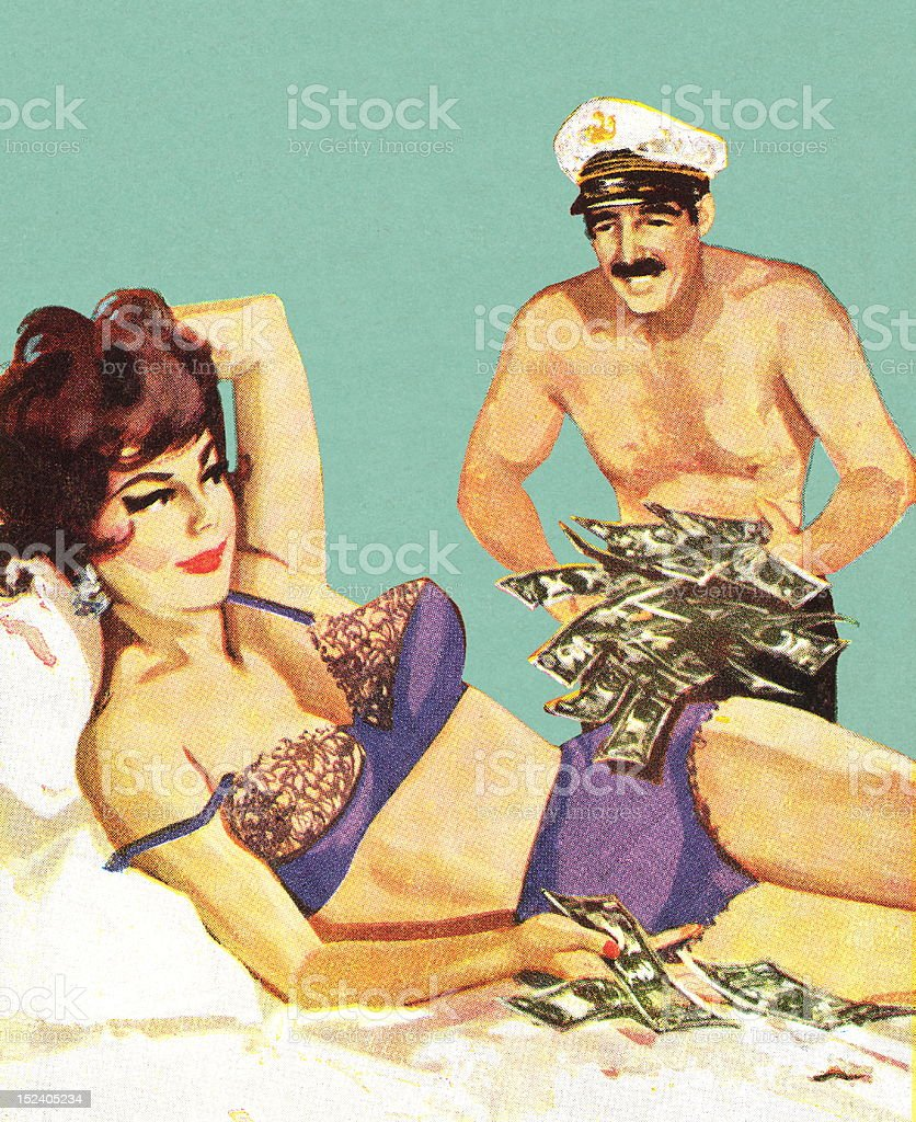 Man Bringing Money to Woman on Bed royalty-free stock vector art
