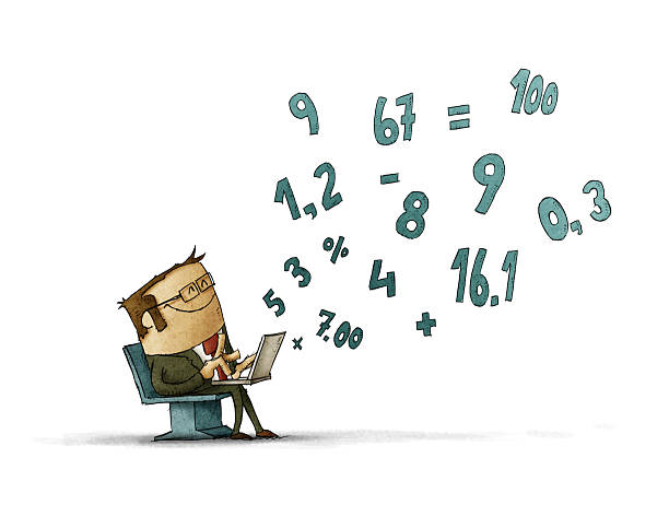 Man calculating numbers on laptop vector art illustration