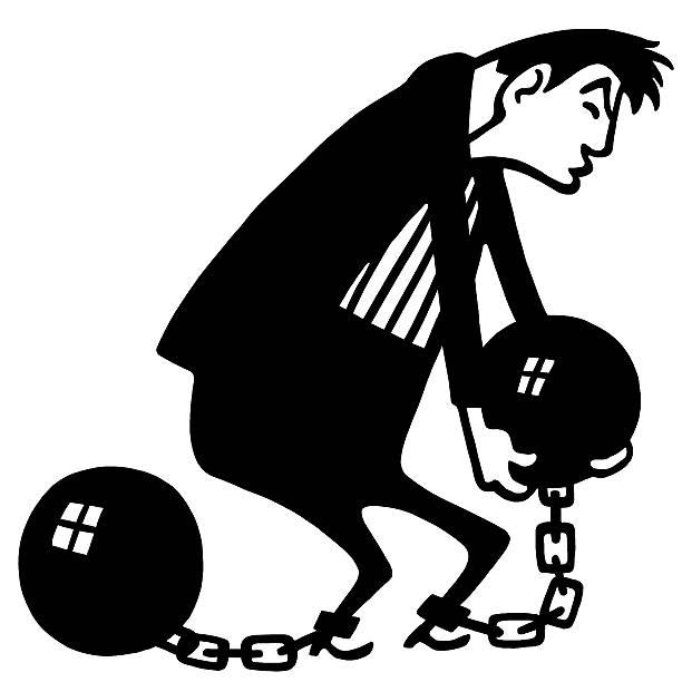 bildbanksillustrationer, clip art samt tecknat material och ikoner med man carrying ball and chain - chain studio