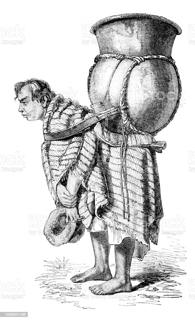 Man carrying water jar in Quito Ecuador illustration 1851 vector art illustration