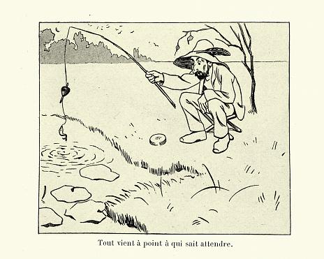 Man catching an very small fish, fishing, Victorian cartoon