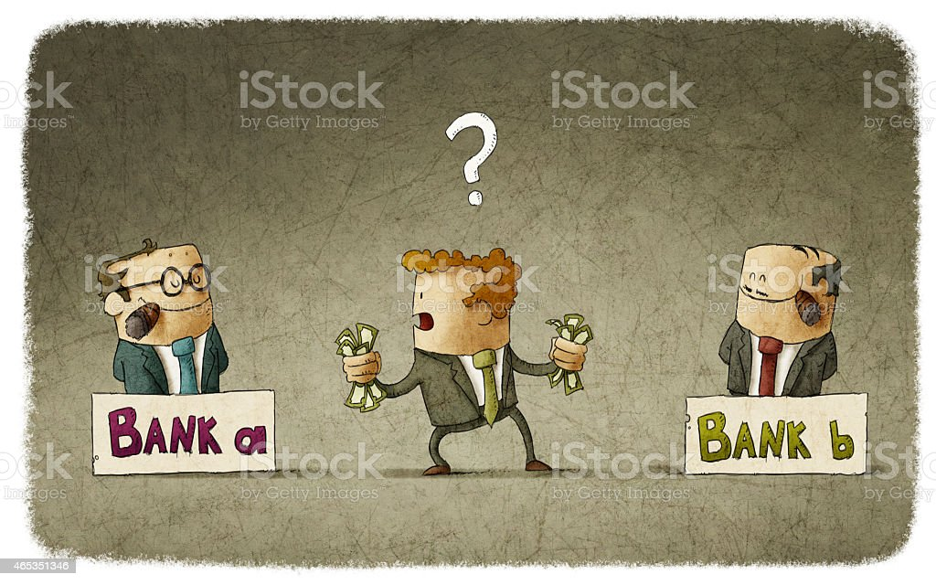 Man choosing banker vector art illustration