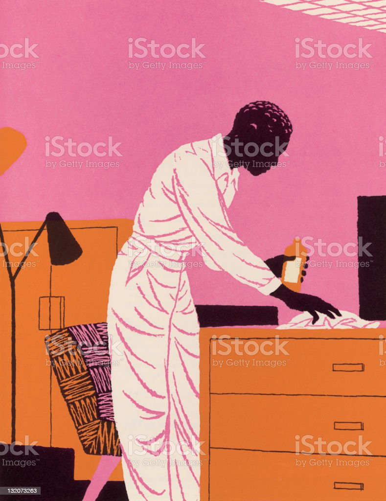 Man Cleaning royalty-free stock vector art
