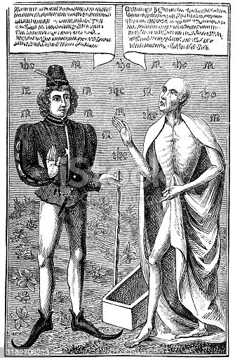istock Man Confronts Death from Danse Macabre at Church of St Leonard in Farleigh Hungerford, England - 15th Century 1152706213