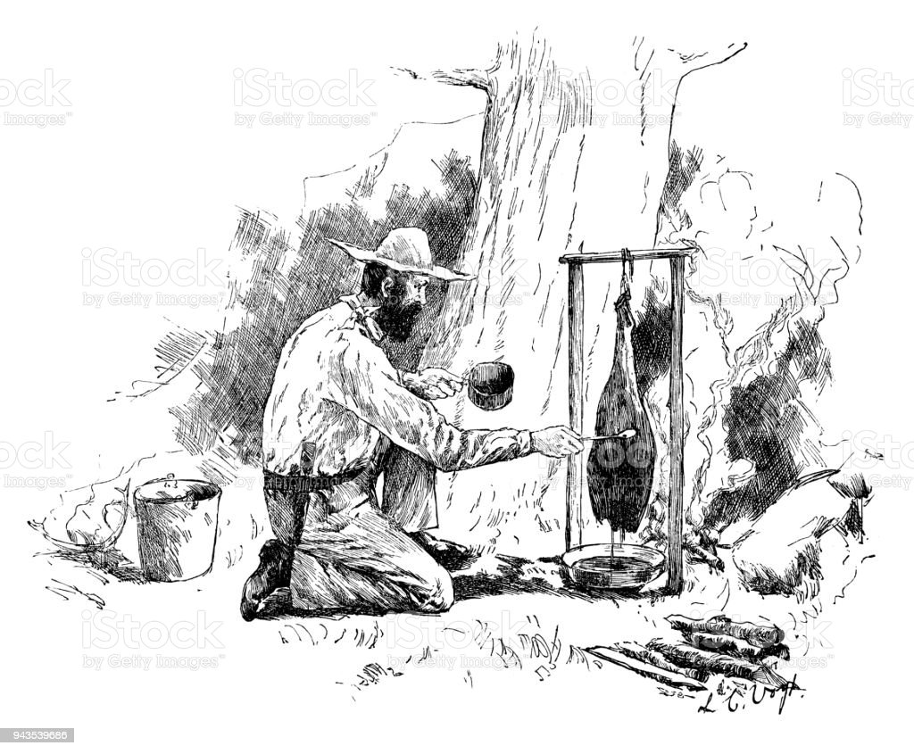 Man Cooking Beef Over A Campfire Royalty Free Stock