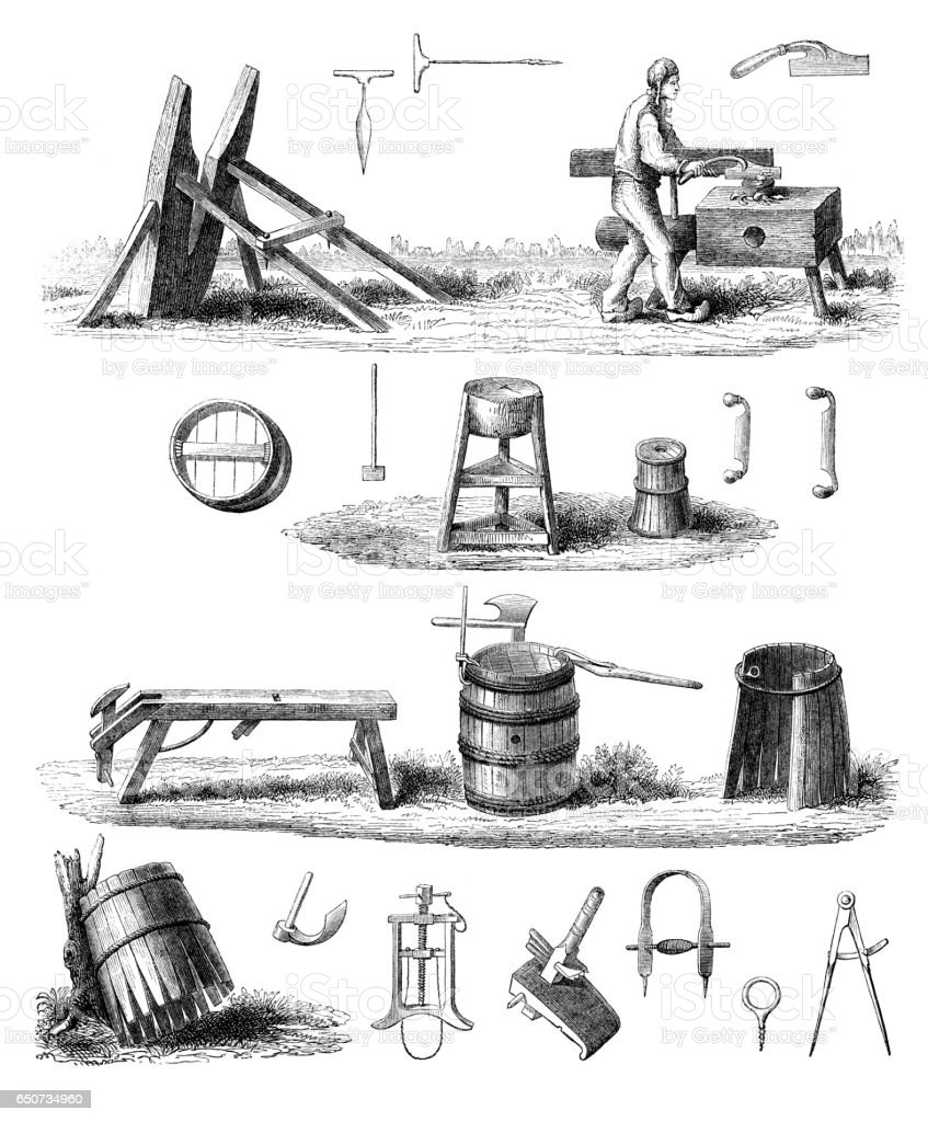 Man cooper manufacturing wooden barrel 1866 vector art illustration