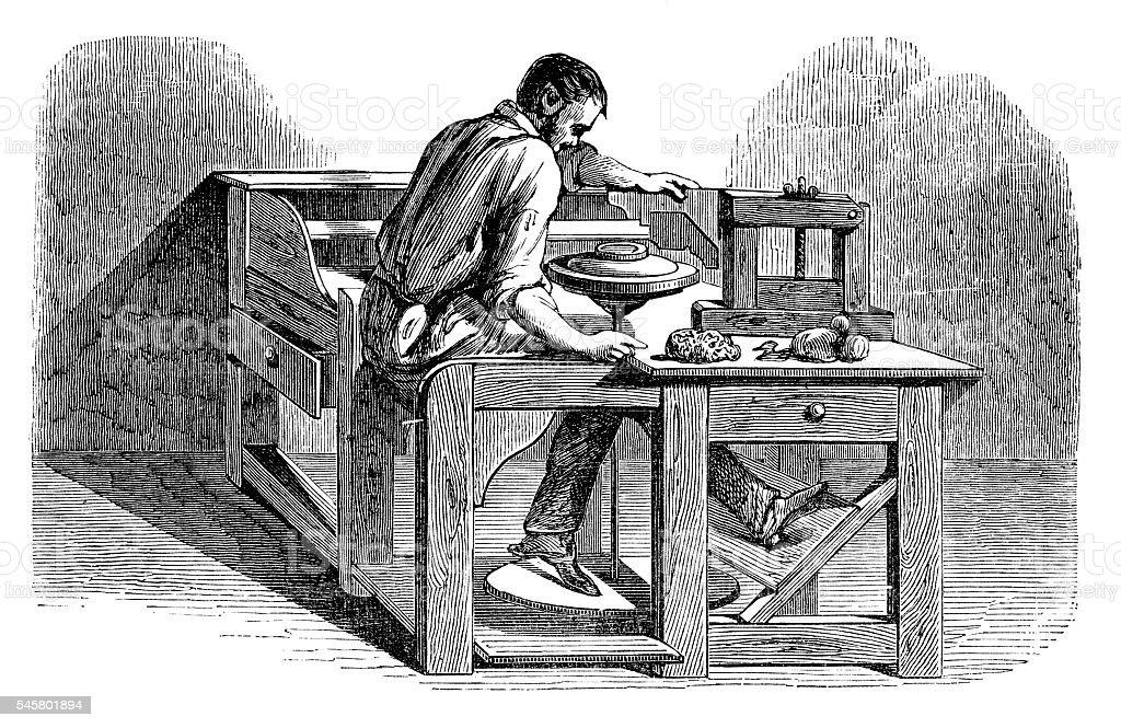 Man creating a ceramic plate - ilustración de arte vectorial