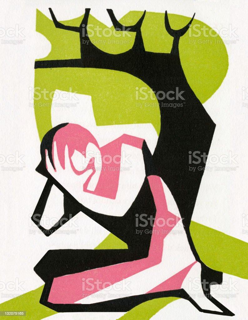 Man Crying Under Tree vector art illustration