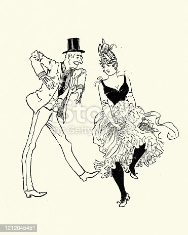 istock Man dancing with a Can-can showgirl, Victorian 19th Century 1212045451