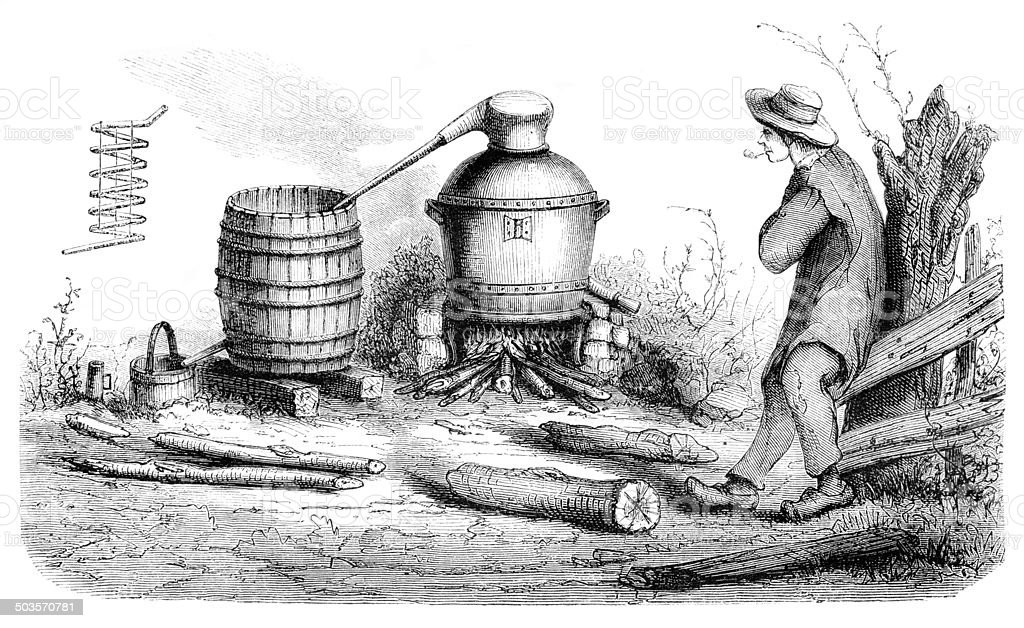 Man distilling alcohol in rural scene 1865 vector art illustration